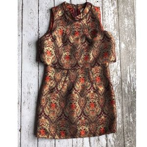 Lavish Alice Gold Metallic Brocade Mini Dress